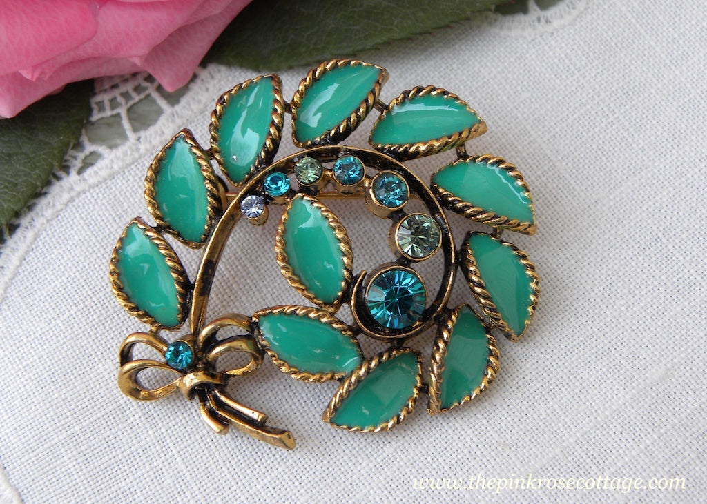 Vintage Enamel and Rhinestone Aqua Fern with Bow Brooch Pin