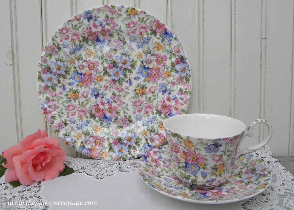 Laura Staffordshire England Pink Rose Chintz Teacup Saucer Lunch Plate