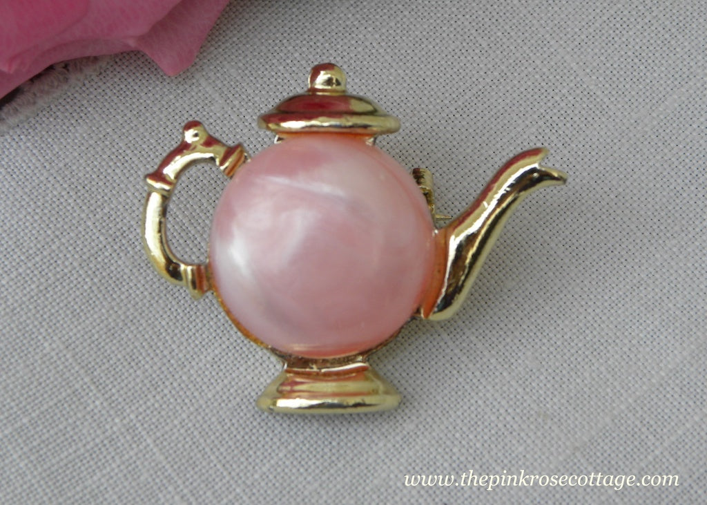Vintage Pink Pearly and Gold Teapot Pin