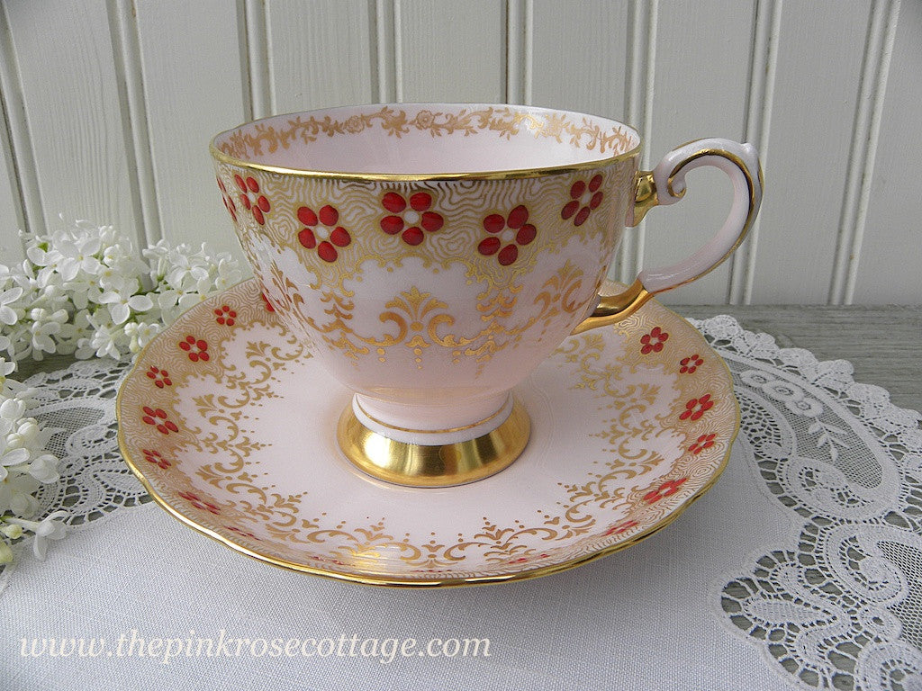 Vintage Tuscan Pink Teacup and Saucer with Red and Gold Trim - The Pink Rose Cottage