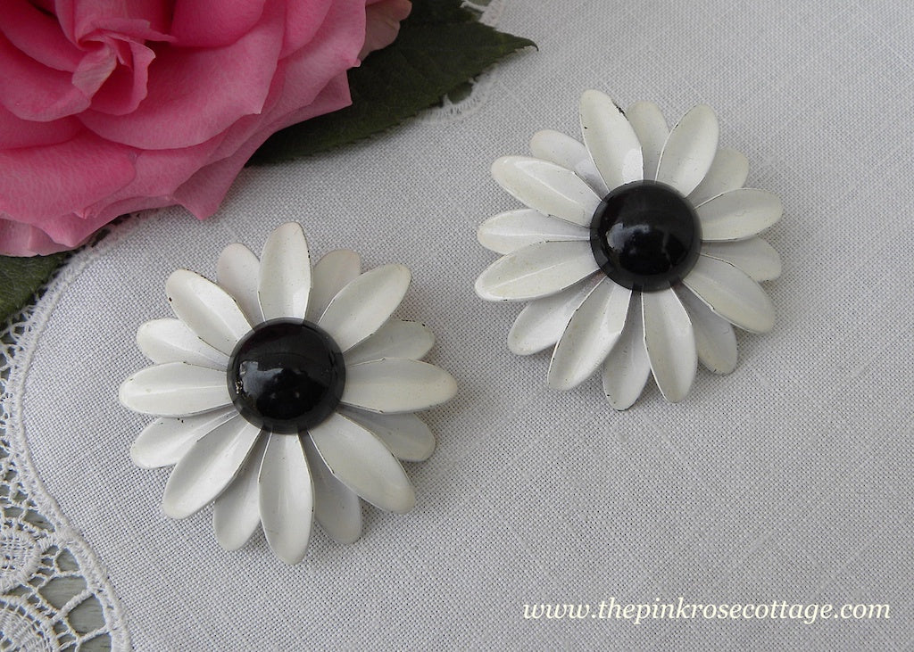 Vintage Enameled Black and White Daisy Earrings