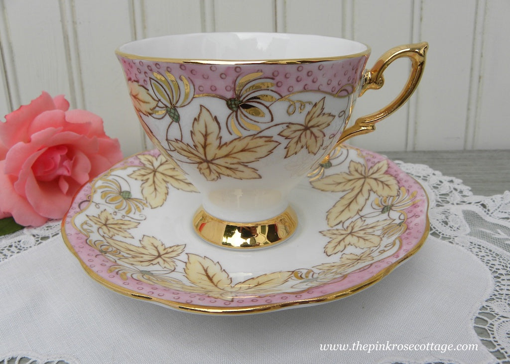 Vintage Royal Standard Pink and Yellow Leaves Teacup and saucer