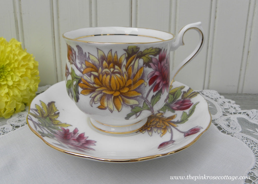 Vintage Royal Albert Flower of the Month Teacup and Saucer No 11 Mums