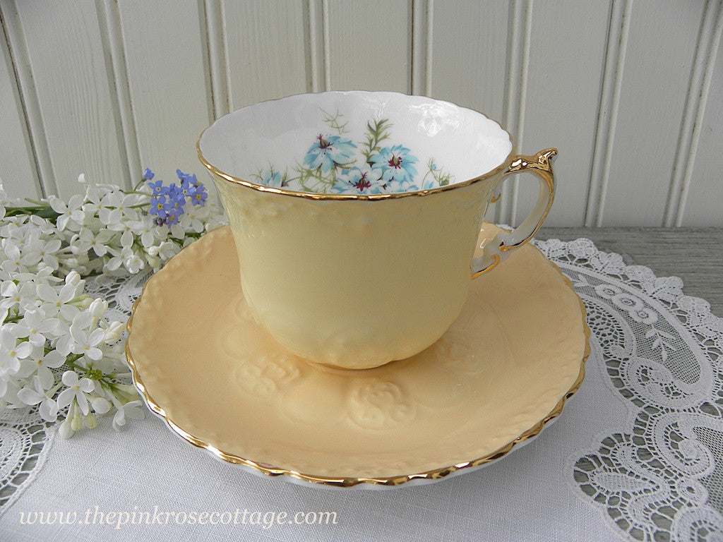 Vintage Aynsley Yellow Teacup and Saucer with Bouquet of Bachelor Buttons
