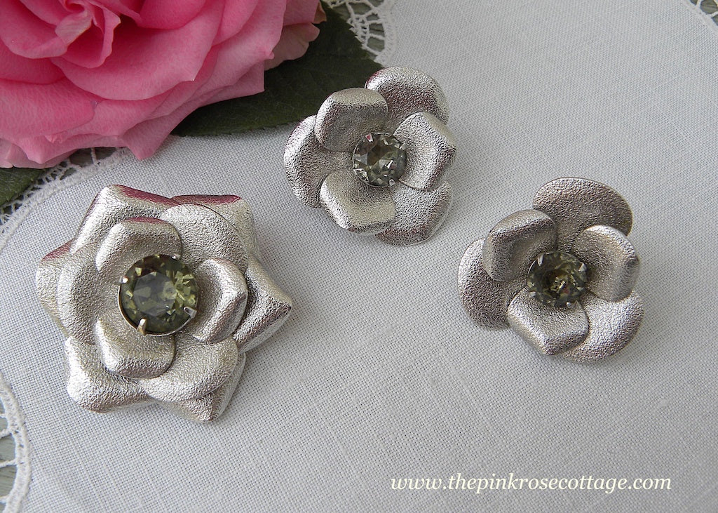 Vintage Sarah Coventry Brushed Silver Rose with Rhinestone Pin or Pendant Earrings Set