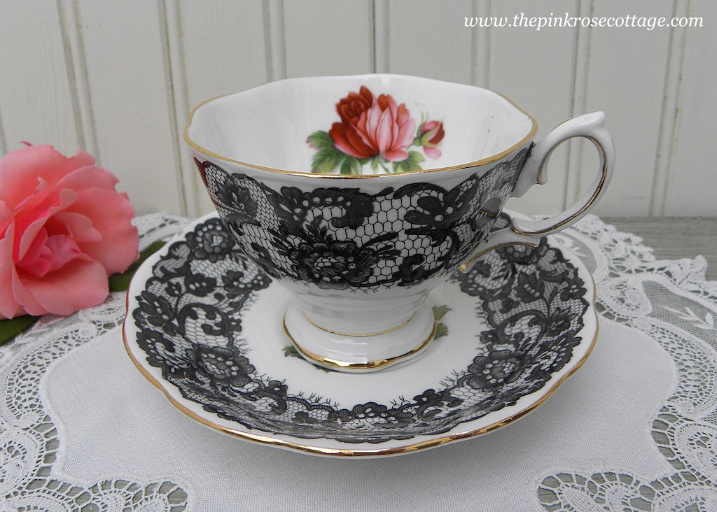 Vintage Royal Albert Senorita Pink Rose Black Lace Teacup and Saucer
