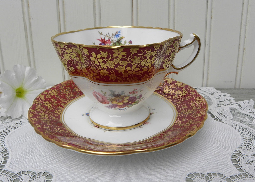 Vintage Burgundy Floral Chintz Hammersley Teacup Signed F. Howard