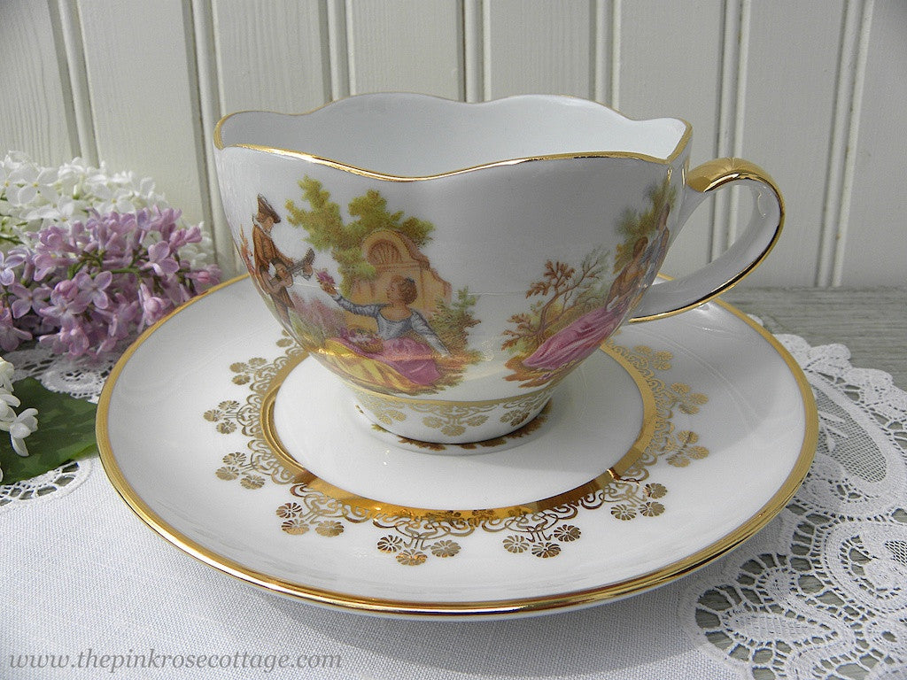 Vintage Teacup and Saucer with Romantic Couples Germany - The Pink Rose Cottage