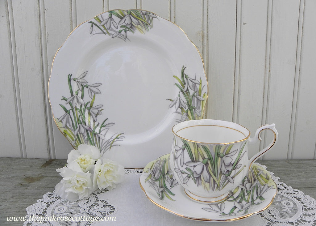 Vintage Royal Albert Flower of the Month Teacup & Plate Trio No 1 Snowdrop