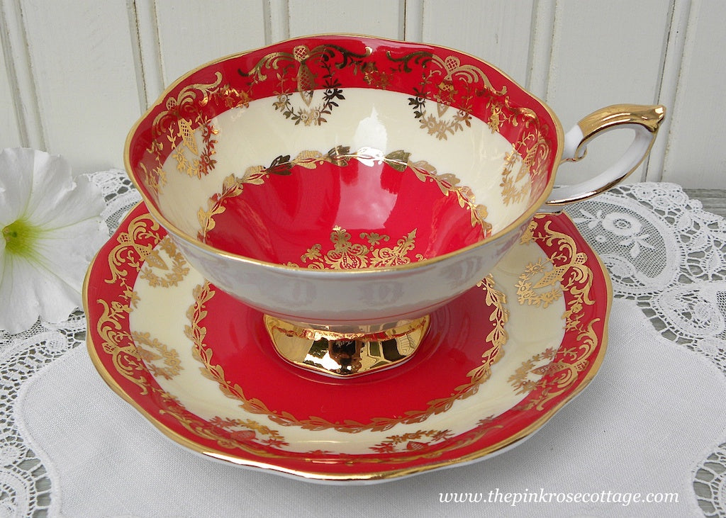 Elegant Vintage Red Gold and Cream Teacup and Saucer