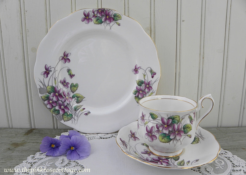 Vintage Royal Albert Flower of the Month Teacup & Plate Trio No 2 Violets
