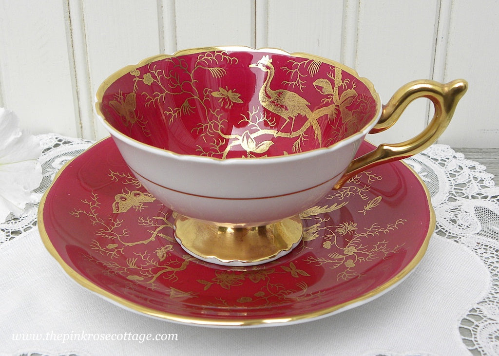 Vintage Burgundy and Gold Oriental Motif Teacup and Saucer