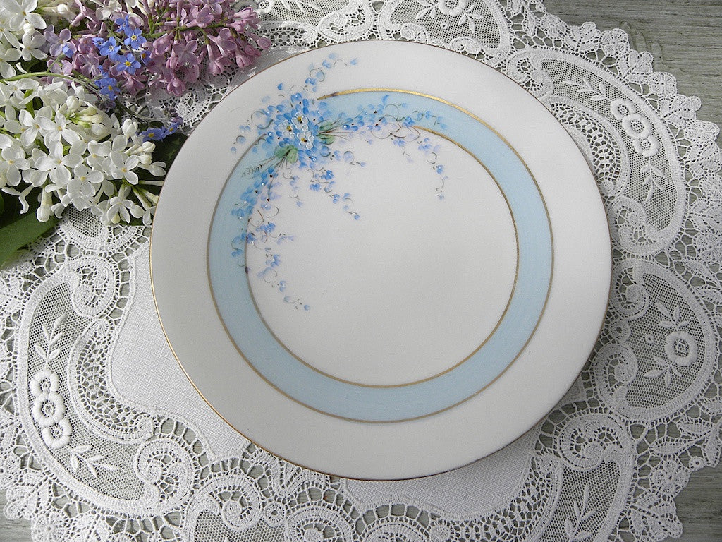 Vintage Hand Painted Forget-Me-Nots Flower Plate Bavaria