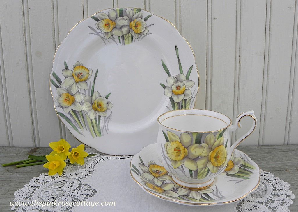 Vintage Royal Albert Flower of the Month Teacup & Plate Trio No 3 Daffodil
