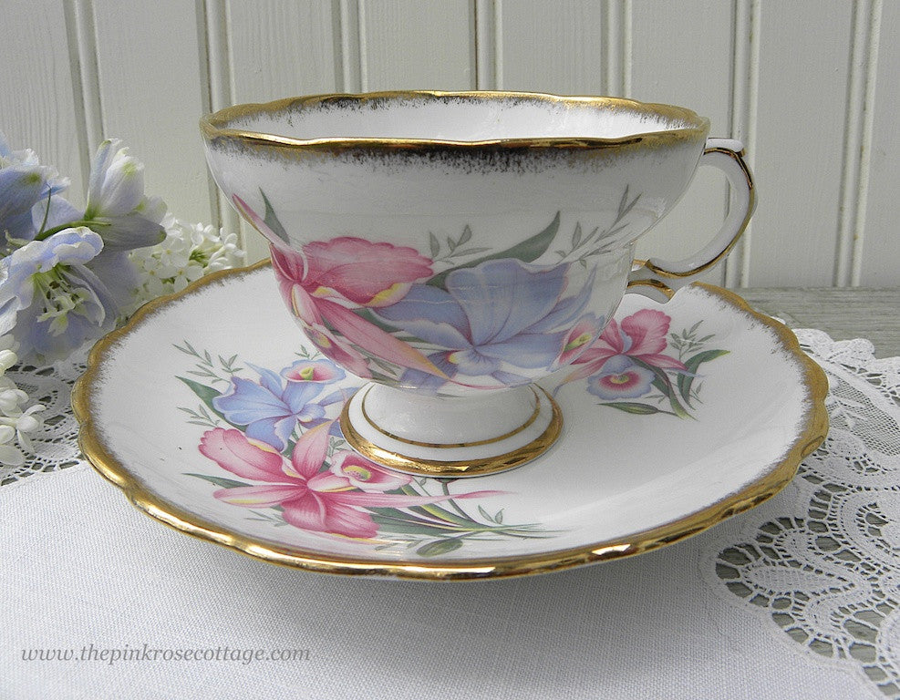 Vintage Rosina Pink and Blue Orchid Teacup and Saucer - The Pink Rose Cottage