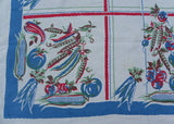 Vintage WWII Victory Garden Tablecloth Vegetables Corn Tomatoes and More