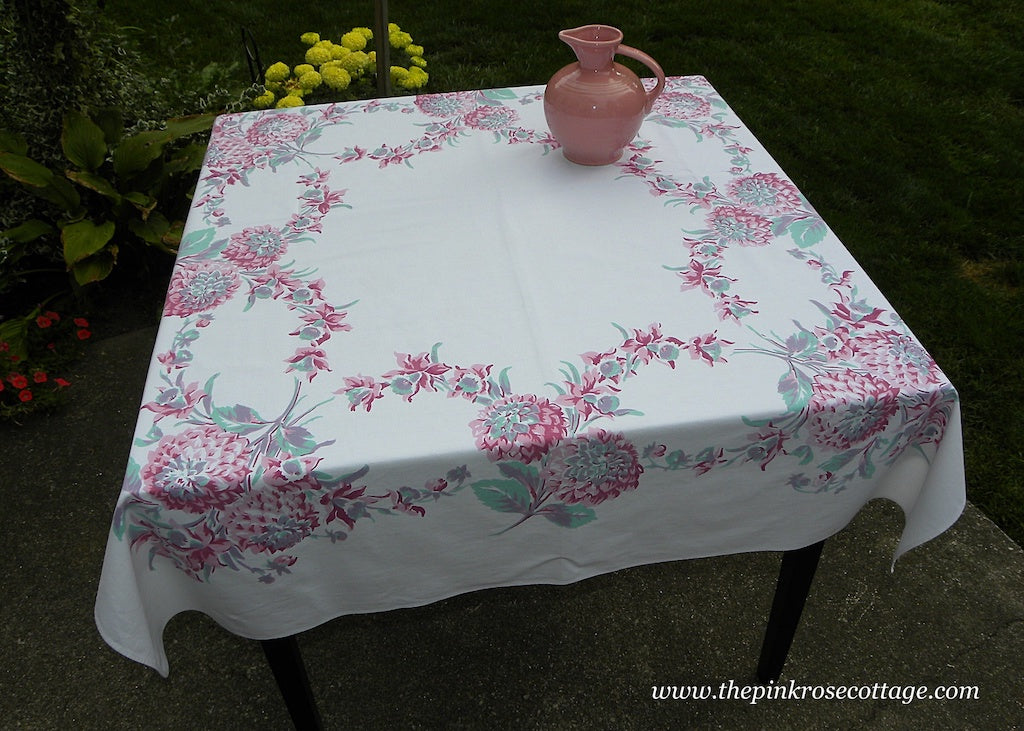 Vintage Pink and Teal Dahlia Tablecloth