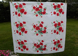 Vintage Classic Wilendur Red Royal Rose Tablecloth