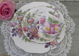 Vintage Royal Albert Flower of the Month Teacup & Plate Trio No 6 Dog Rose