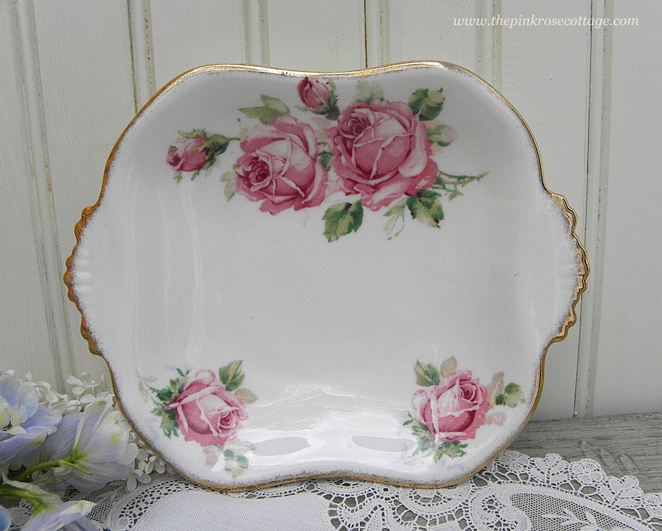 Vintage Queen Anne Lady Margaret Pink Rose Handled Candy Dish - The Pink Rose Cottage