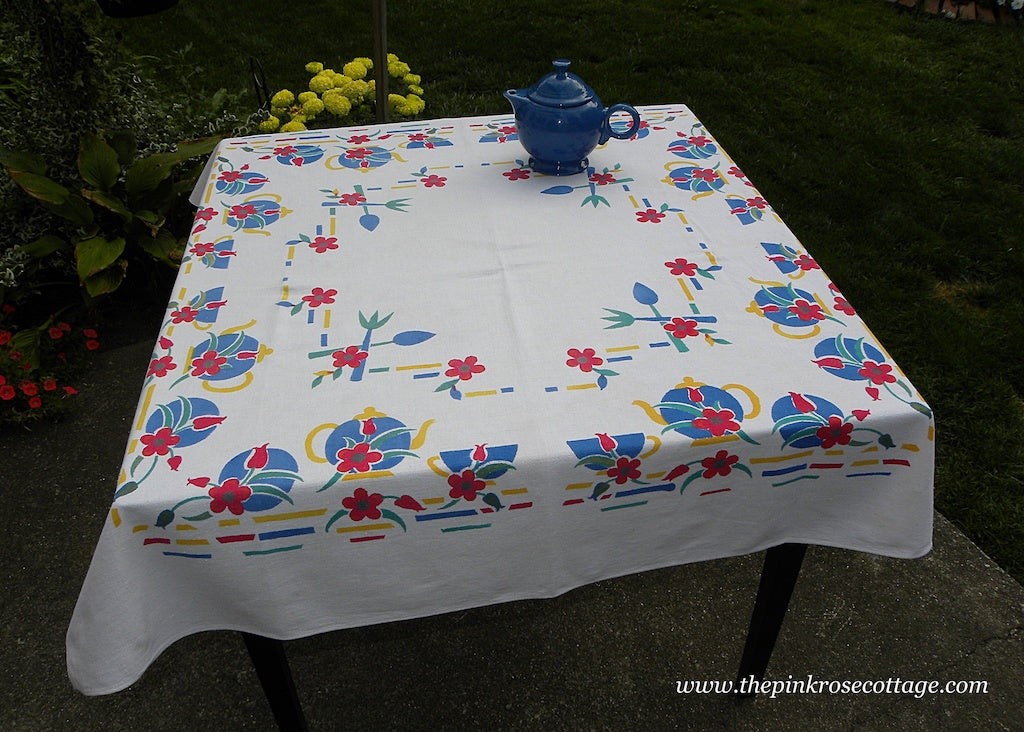 Vintage Tea Set Tablecloth Tea Pots Teacups and More