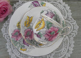 Vintage Royal Albert Flower of the Month Teacup & Plate Trio No 8 Poppy