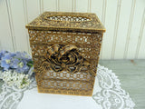 Vintage Gold Filagree Boudoir Vanity Tissue Box Cover with Bow - The Pink Rose Cottage