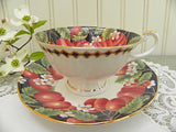 "Vintage Queen's ""Victoria Plums"" Black Teacup and Saucer"