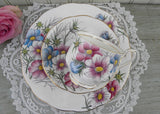 Vintage Royal Albert Flower of the Month Teacup & Plate Trio No 10 Cosmos
