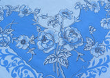 Vintage Blue and White Tablecloth with Wild Roses and Scrolls