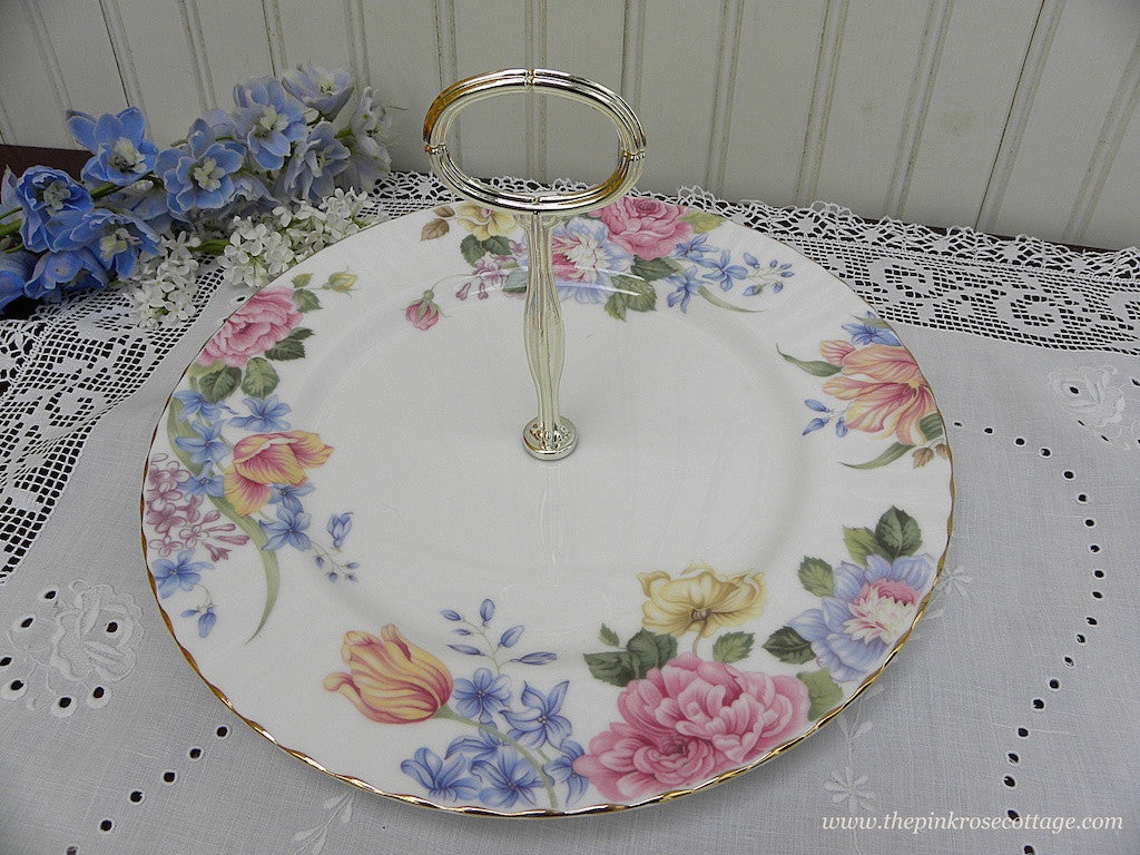 "Royal Albert ""Beatrice"" Roses Peony Tidbit Serving Handled Tray - The Pink Rose Cottage"