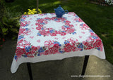 Vintage Bright Red and Pink Roses with Bachelor Buttons Tablecloth