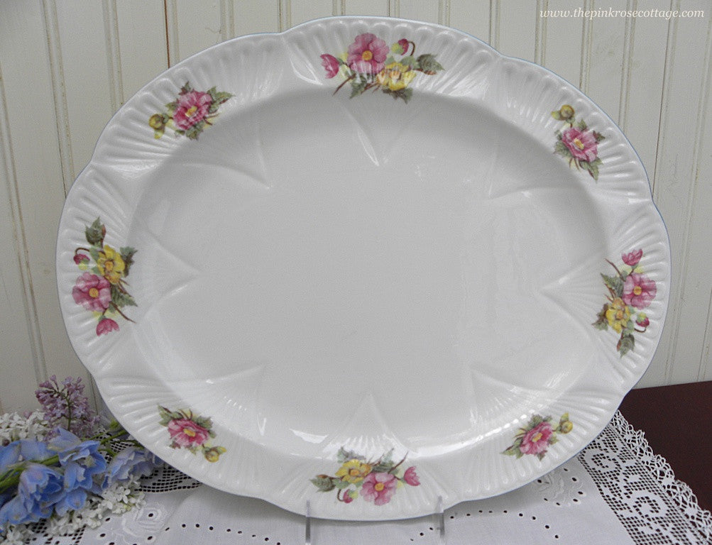 "Shelley ""Begonia"" Dainty 16 Inch Serving Platter - The Pink Rose Cottage"