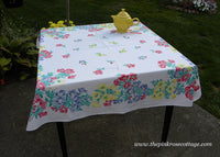 Vintage Freesia Floral Tablecloth Pink Blue Yellow