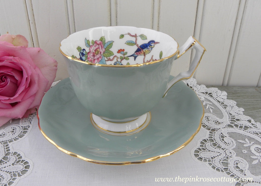 Aynsley Pembroke Sage Green Bird and Flowers Teacup and Saucer - The Pink Rose Cottage