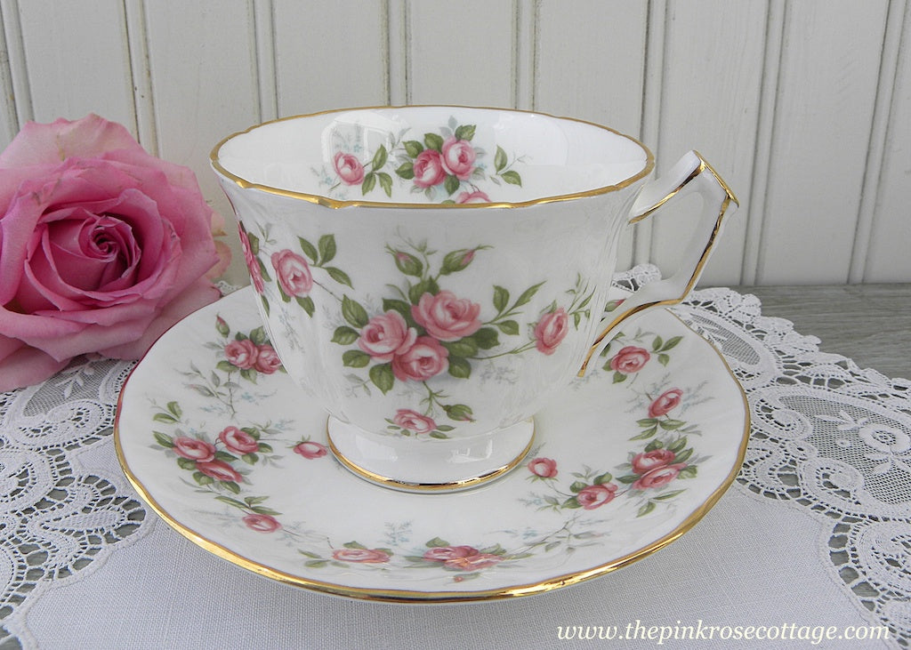 Vintage Anysley Grotto Rose Pink Roses Teacup and Saucer