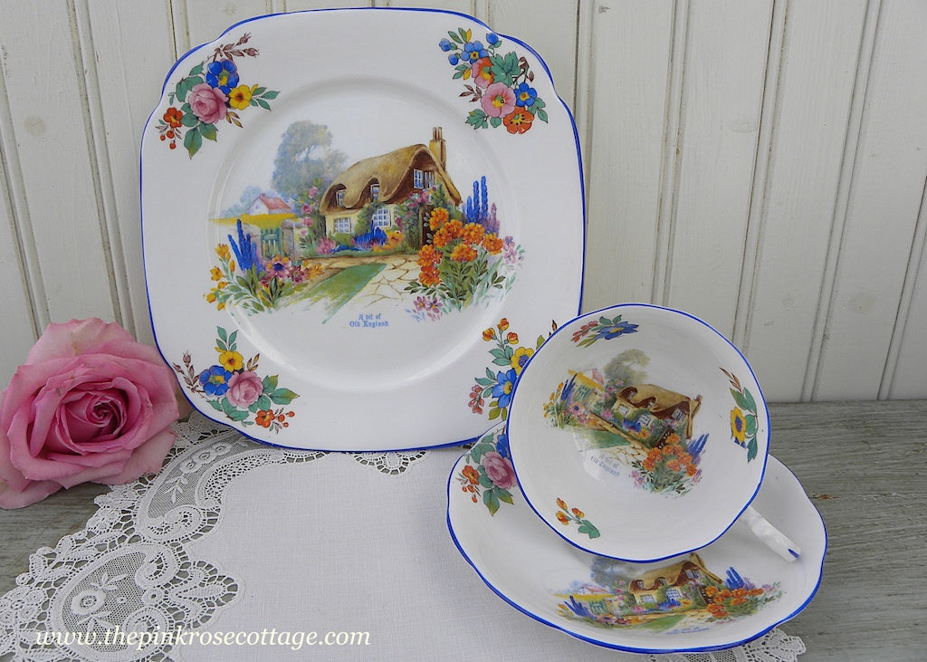 Antique Royal Albert Crown China A Bit Of Old England Teacup Trio English Cottage - The Pink Rose Cottage