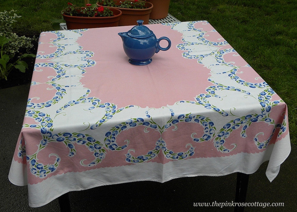 Vintage Pink Tablecloth with Blue Tulips in Heart Shape Garland - The Pink Rose Cottage