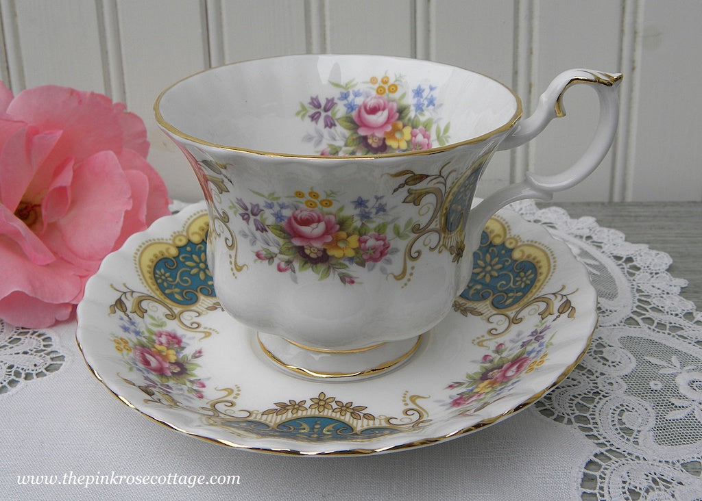 Vintage Royal Albert Pink Rose and Teal Berkeley Teacup and Saucer