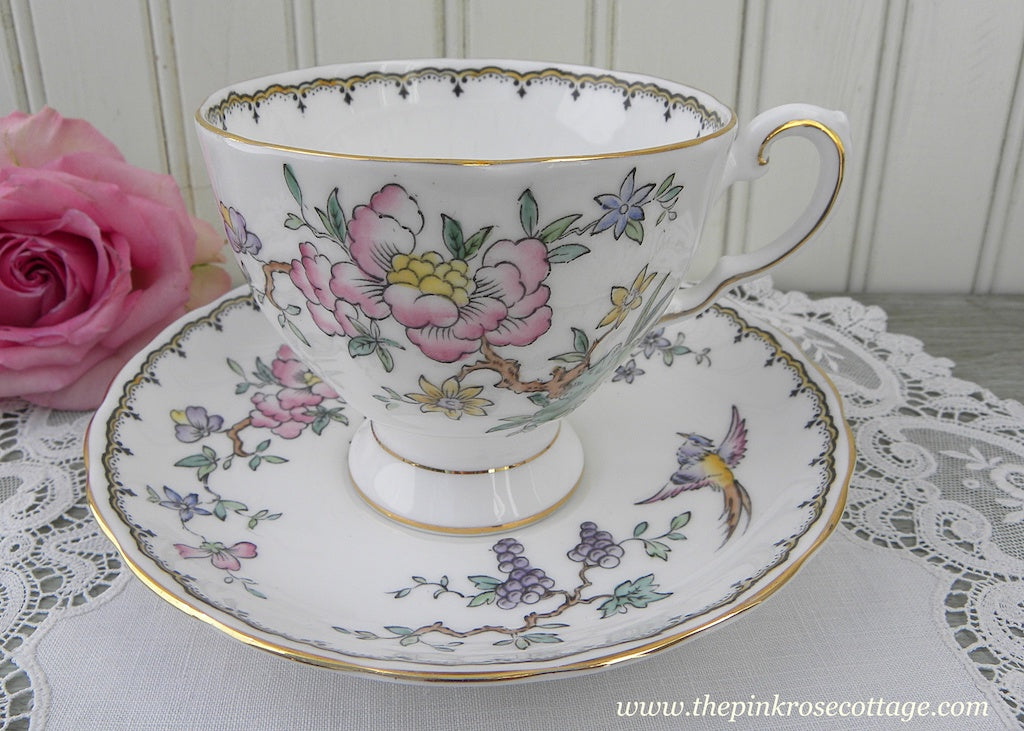 Vintage Tuscan Oriental Flowers and Bird Teacup and Saucer