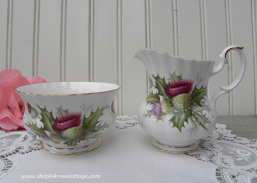 Vintage Royal Albert Sugar and Creamer Highland Thistle