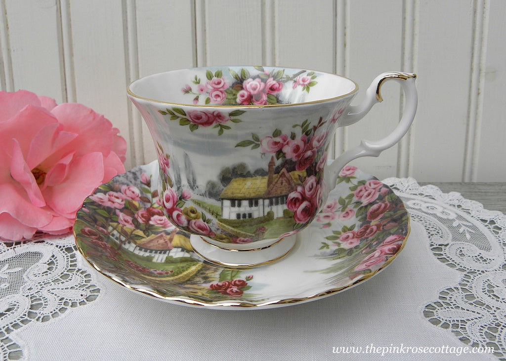 Vintage Royal Albert Teacup and Saucer Country Scenes Rose Cottage