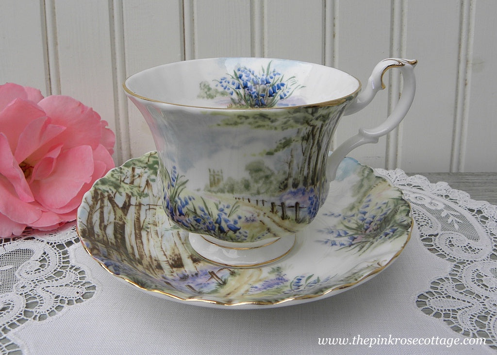 Vintage Royal Albert Teacup and Saucer Country Scenes Bluebell Wood