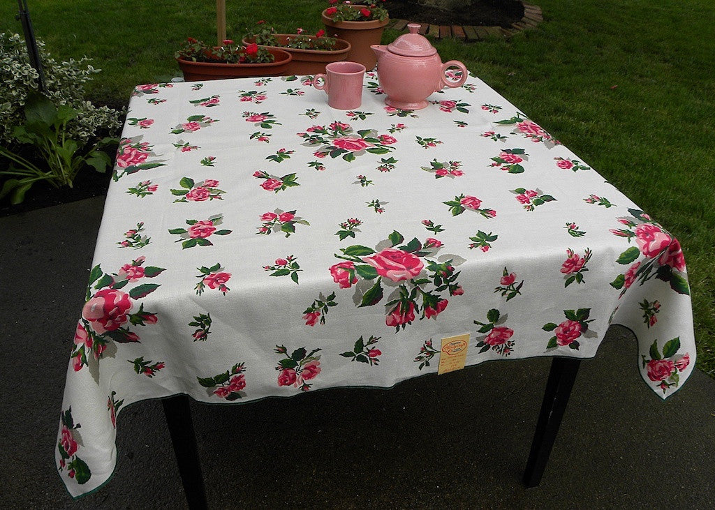 MWT Hardy Craft Random Rose Beautiful Pink Rose Tablecloth | The Pink Rose  Cottage