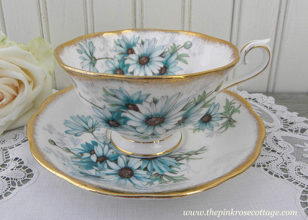 Vintage Royal Albert Teal Blue Daisies Marguerite Teacup and Saucer