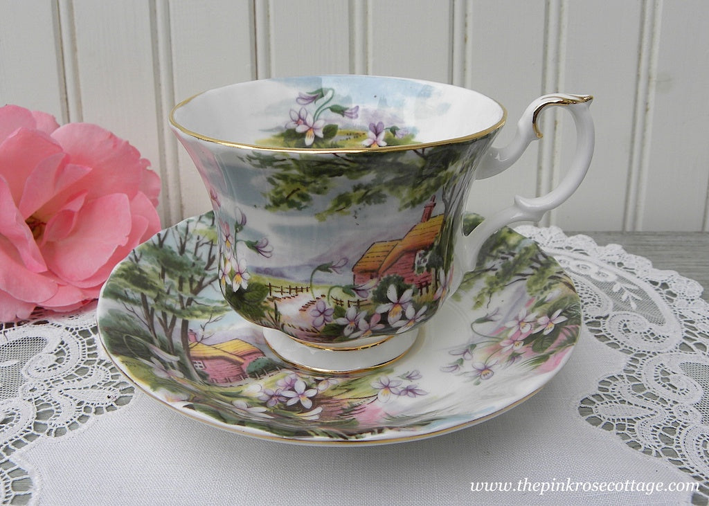 Vintage Royal Albert Teacup and Saucer Country Scenes Dingle Dell Violets