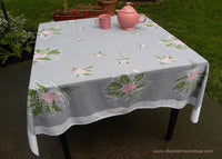 Vintage Pink Lilac and Lily of the Valley Bridal Bouquet Tablecloth - The Pink Rose Cottage