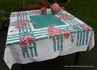 Vintage Tablecloth with Big Pink Cabbage Roses on Green - The Pink Rose Cottage