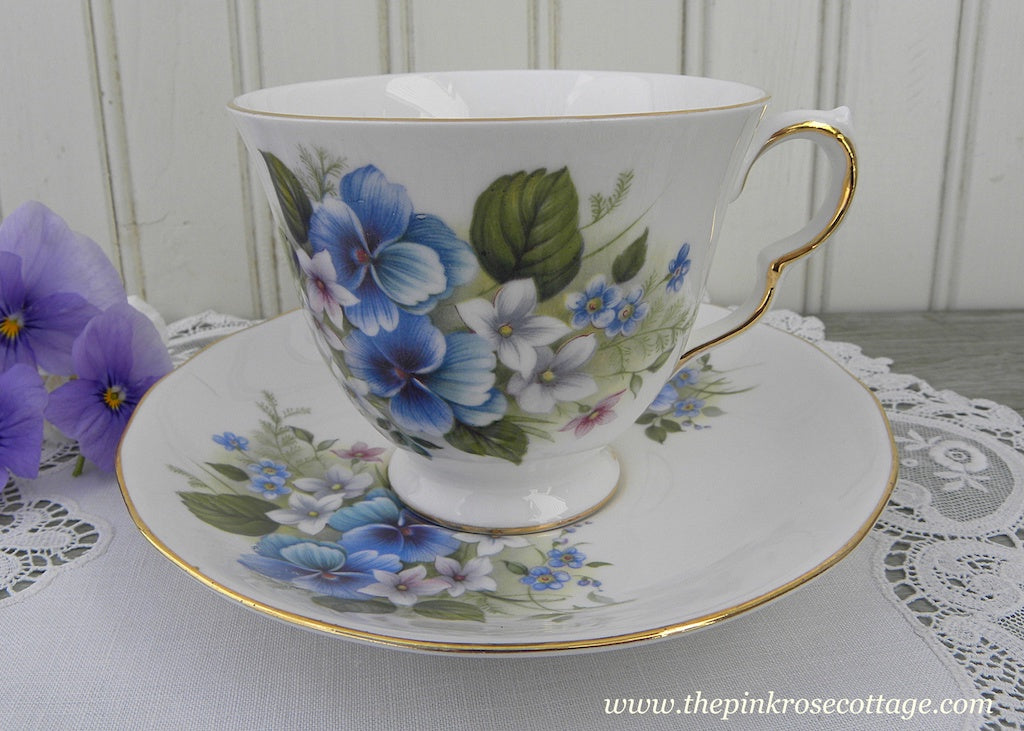 Vintage Royal Vale Blue Pansies and Violets Teacup and Saucer