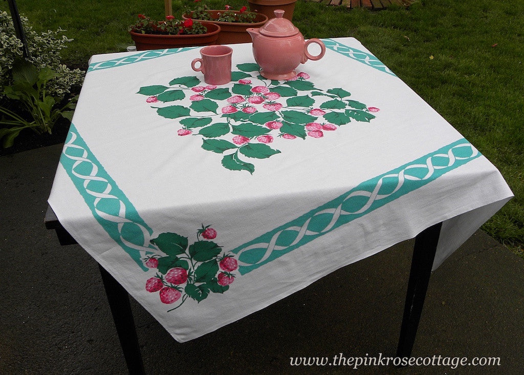 Vintage Tablecloth with Lush Strawberries and Teal Green Ribbons - The Pink Rose Cottage